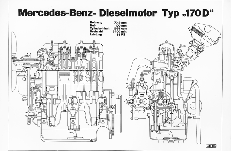 Mercedes-Benz diesel engine from the 170 D, drawing in a 1951 brochure;