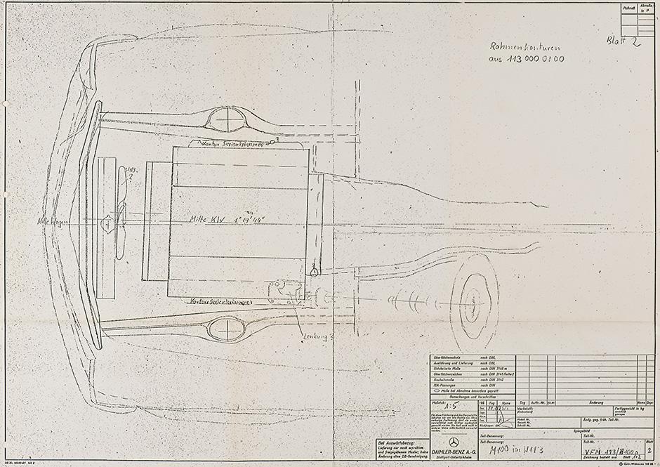 Mercedes-Benz SL der Baureihe W 113 mit dem 6,3-Liter-V8-Motor M 100 des Typ 600 (W 100), Zeichnung.