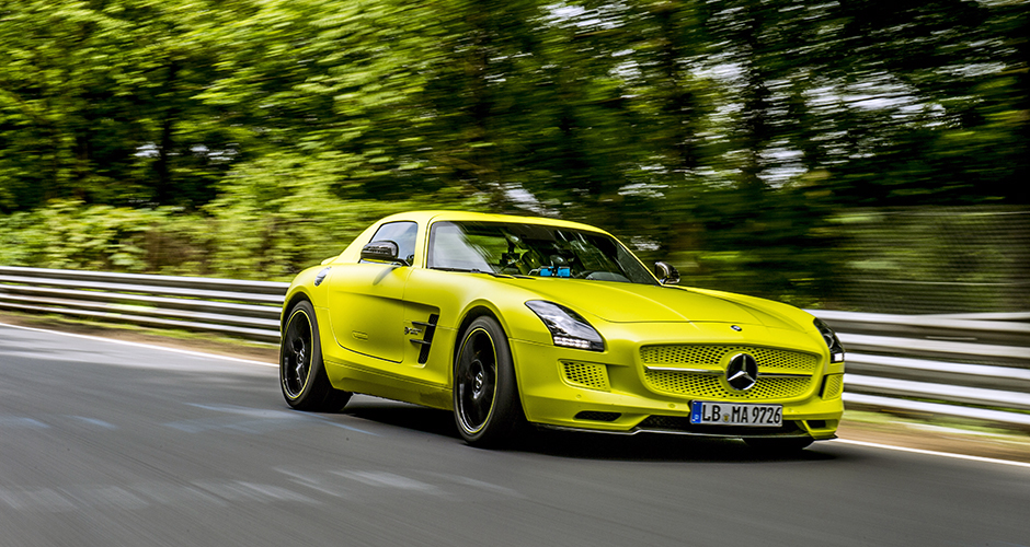 SLS AMG Coupé Electric Drive (2013) - Rundenrekord für Elektro-Serienfahrzeuge auf der Nürburgring-Nordschleife; Rekordzeit 7:56,234 Minuten