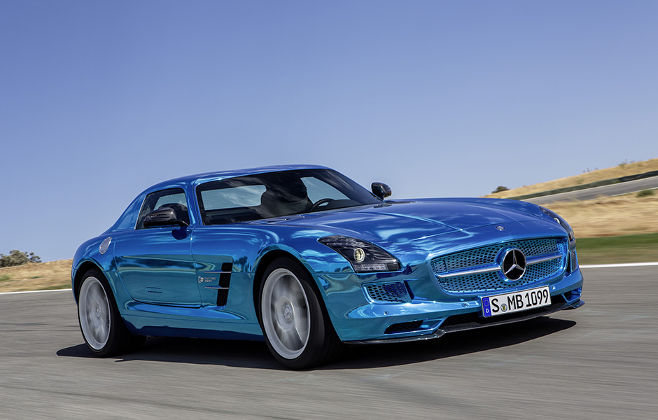 Mercedes Benz SLS AMG Electric Drive;Platin blue chrom; designo Leder exklusiv schwarz; (BR 197); Paris 2012