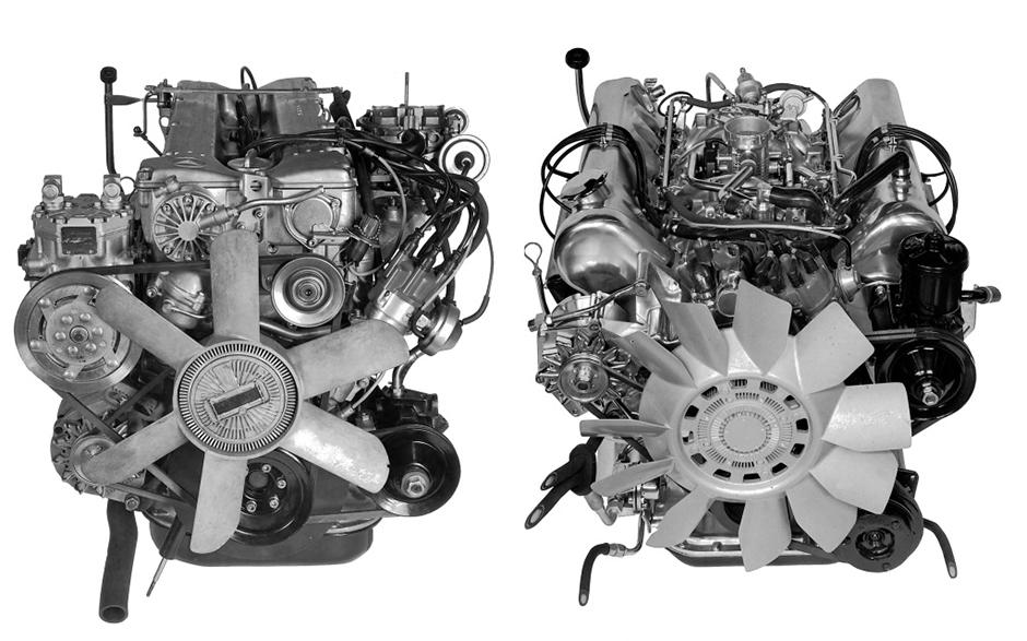 Vergleich der Motoren: Mercedes-Benz 280 S sowie 350 SE/350 SEL aus dem Jahr 1973. ; Comparison of engines: Mercedes-Benz 280 S and 350 SE/350 SEL of 1973.;