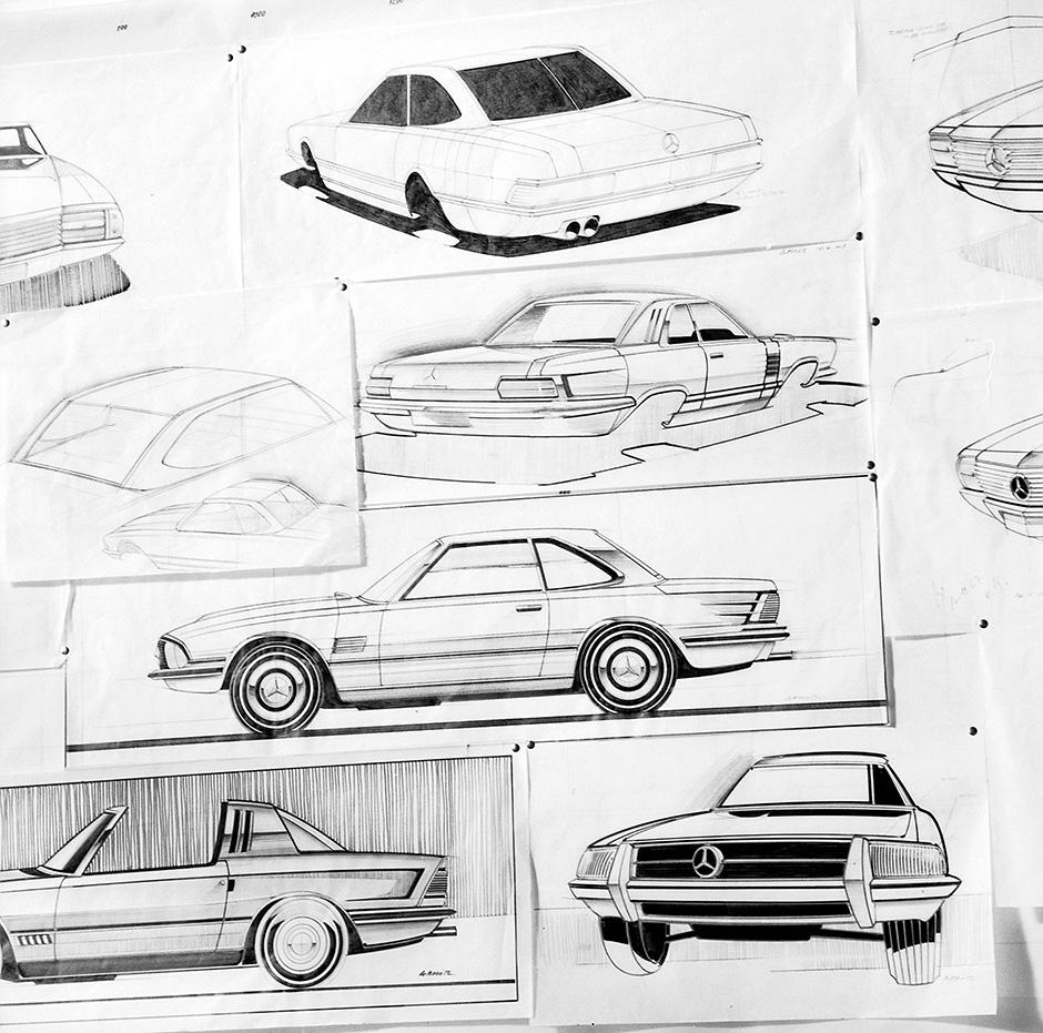 Entwicklungsphasen des Mercedes-Benz SL (R 107, 1971 bis 1989). Ideenskizzen aus dem Design, die zwar nicht realisiert wurden, aber doch in Details Anklänge von stilistischen Merkmalen zeigen.
