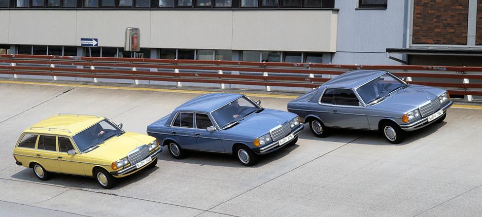 Vielfalt in der mittleren Klasse von Mercedes-Benz: Coupé, Limousine und T-Modell der Baureihe 123 auf der Einfahrbahn in Untertürkheim. Foto aus dem Jahr 1980. ; Mercedes-Benz mid-range model line-up: model series 123 Coupé, Saloon and Estate on the test track in Untertürkheim. Photograph dated 1980.;