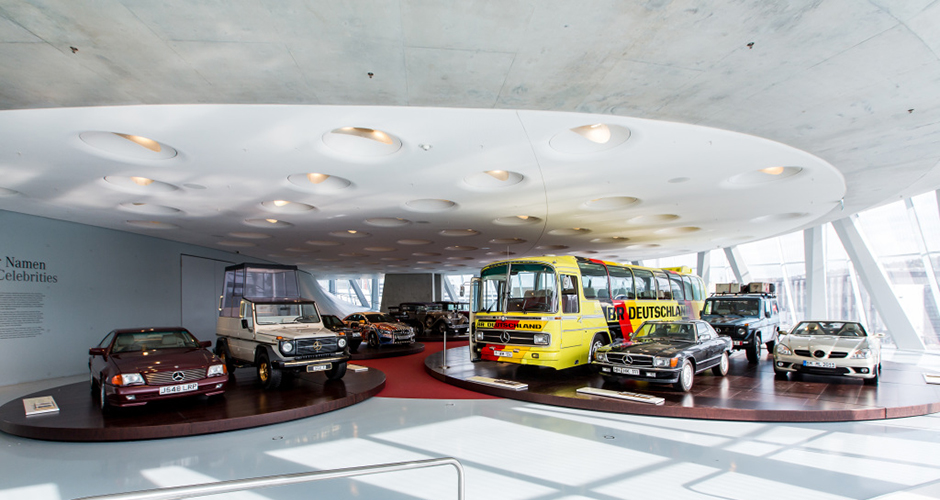 "Neue Akzente im im Raum Collection 4 ""Galerie der Namen"": Fünf neue Fahrzeuge, unter anderem von Nicolas Cage, Cro und Lukas Podolski. Collections Room ""Gallery of Names"" at the Mercedes-Benz Museum. Five new vehicles."