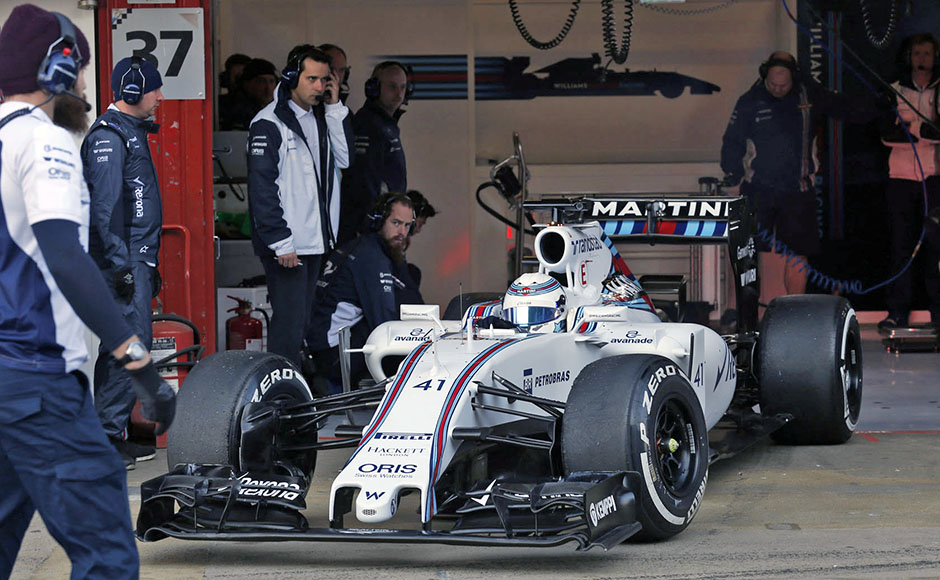 2015 F1 Pre Season Test 2 - Day 1 Circuit de Catalunya, Barcelona, Spain. Thursday 19 February 2015. Susie Wolff, Williams FW37 Mercedes leaves the garage. World Copyright: Alastair Staley/Williams F1. ref: Digital Image _79P1960