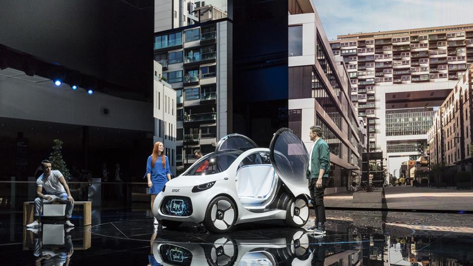 Weltpremiere des smart vision EQ fortwo auf der IAA in Frankfurt. World premiere of the smart vision EQ fortwo at the International Auto Show (IAA) in Frankfurt.
