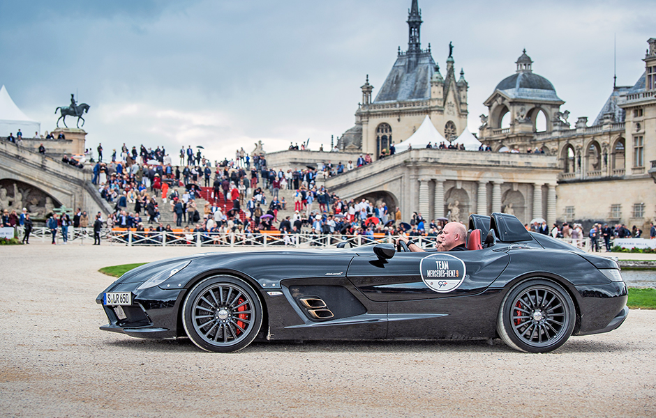 Visionärer Supersportwagen: Die Mercedes-Benz SLR McLaren der Baureihe 199 spielten beim Chantilly Arts & Elegance Richard Mille 2017 eine Hauptrolle. Visionary supersportscar: The Mercedes-Benz SLR McLaren of the model series 199 did play a leading part at the the Chantilly Arts & Elegance Richard Mille 2017.
